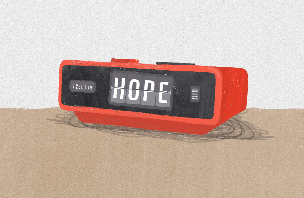 """An image of a leadership alarm clock set to the time of """"Hope"""""""